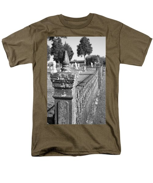 Old Graveyard Fence in Black and White T-Shirt by Kathy Clark
