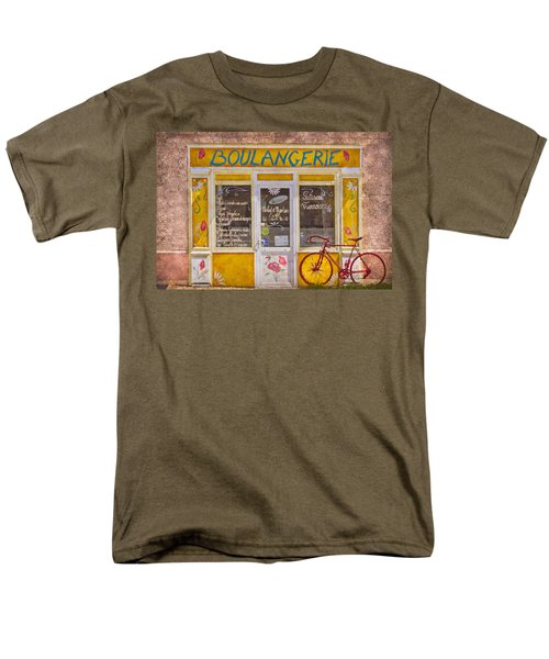 Red Bike at the Boulangerie T-Shirt by Debra and Dave Vanderlaan