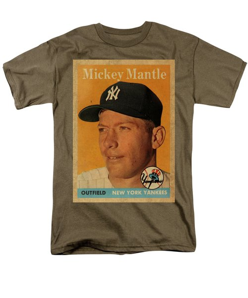 1958 Topps Baseball Mickey Mantle Card Vintage Poster Men's T-Shirt  (Regular Fit) by Design Turnpike