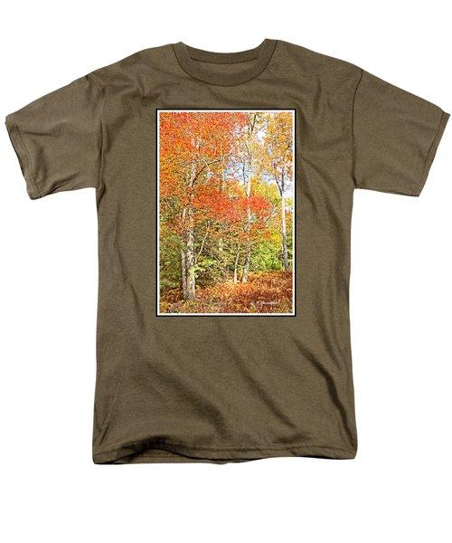 Men's T-Shirt  (Regular Fit) featuring the digital art Forest Interior Autumn Pocono Mountains Pennsylvania by A Gurmankin