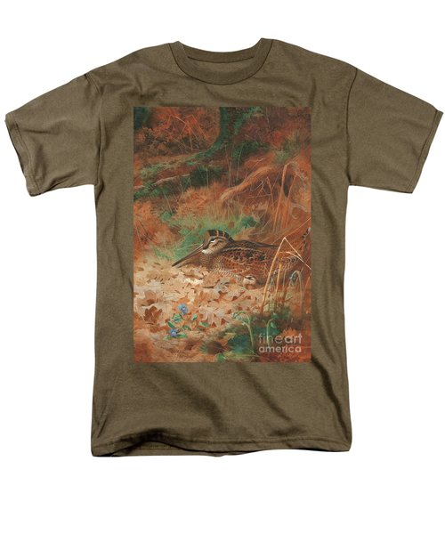 A Woodcock And Chick In Undergrowth Men's T-Shirt  (Regular Fit) by Archibald Thorburn