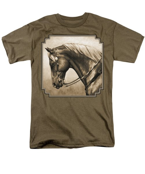 Western Horse Painting In Sepia Men's T-Shirt  (Regular Fit) by Crista Forest