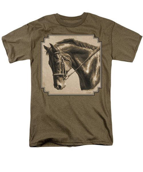 Horse Painting - Focus In Sepia Men's T-Shirt  (Regular Fit) by Crista Forest