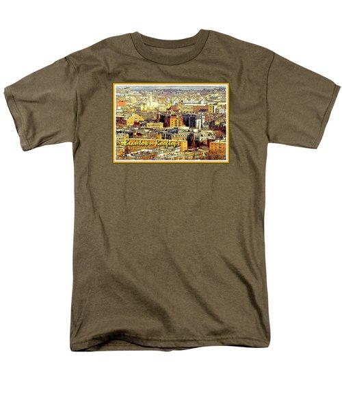 Men's T-Shirt  (Regular Fit) featuring the digital art Boston Beantown Rooftops Digital Art by A Gurmankin