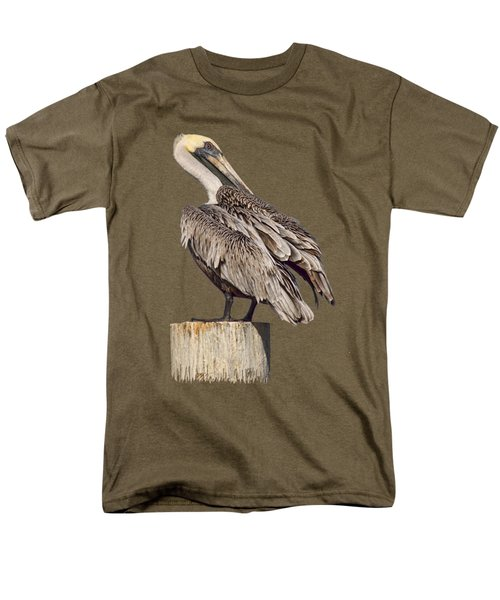 Brown Pelican - Preening - Transparent Men's T-Shirt  (Regular Fit) by Nikolyn McDonald