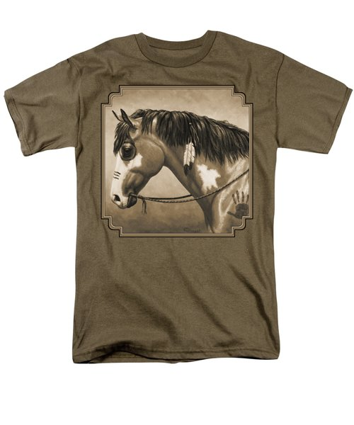 Buckskin War Horse In Sepia Men's T-Shirt  (Regular Fit) by Crista Forest