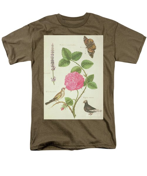 Centifolia Rose, Lavender, Tortoiseshell Butterfly, Goldfinch And Crested Pigeon Men's T-Shirt  (Regular Fit) by Nicolas Robert