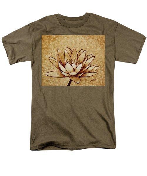 Coffee painting Water Lilly Blooming T-Shirt by Georgeta  Blanaru