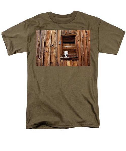 Cow skull in wooden window T-Shirt by Garry Gay