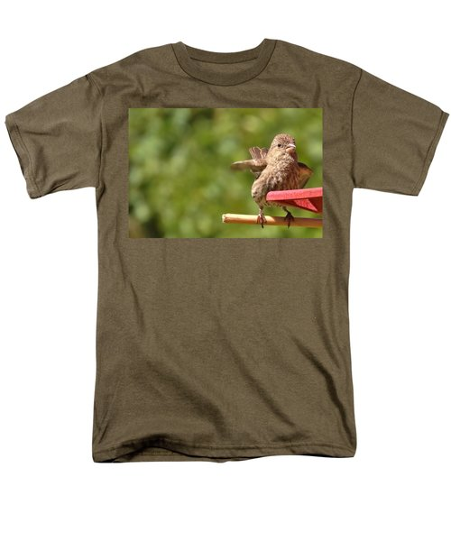 Crossbill Female At Feeder        Summer       Indiana Men's T-Shirt  (Regular Fit) by Rory Cubel