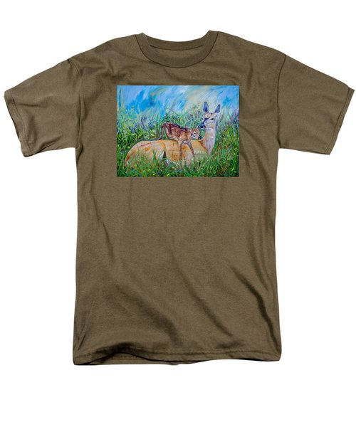 Deer Mom And Babe 24x18x1 Oil On Gallery Canvas Men's T-Shirt  (Regular Fit) by Manuel Lopez