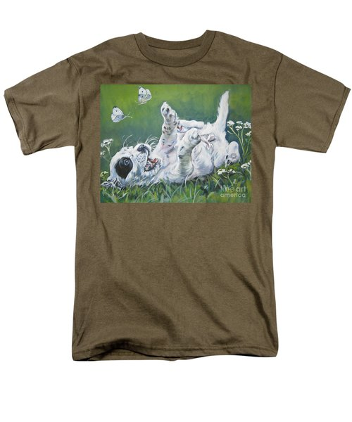 English Setter Puppy And Butterflies Men's T-Shirt  (Regular Fit) by Lee Ann Shepard
