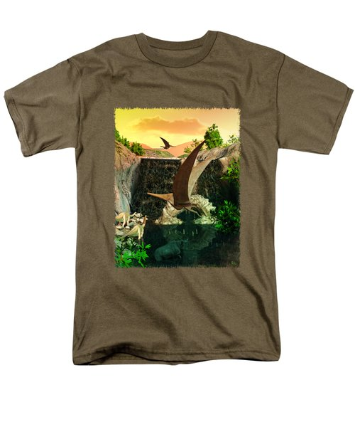 Fantasy Worlds 3d Dinosaur 2 Men's T-Shirt  (Regular Fit) by Sharon and Renee Lozen