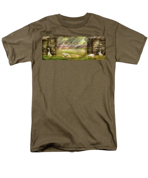 Farm - Geese -  Birds of a Feather - Panorama T-Shirt by Mike Savad