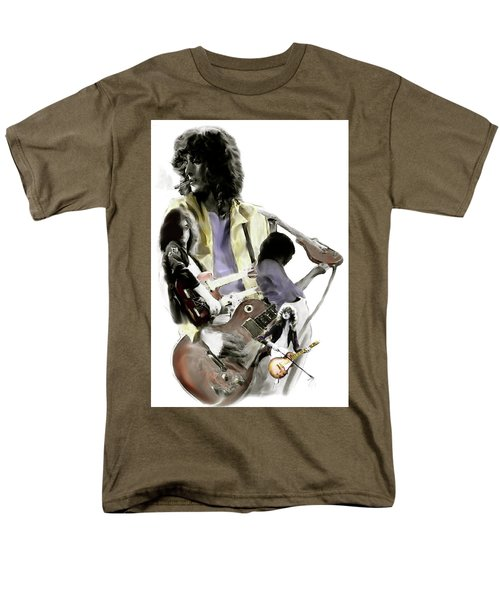 Hammer Of The Gods   Jimmy Page Men's T-Shirt  (Regular Fit) by Iconic Images Art Gallery David Pucciarelli