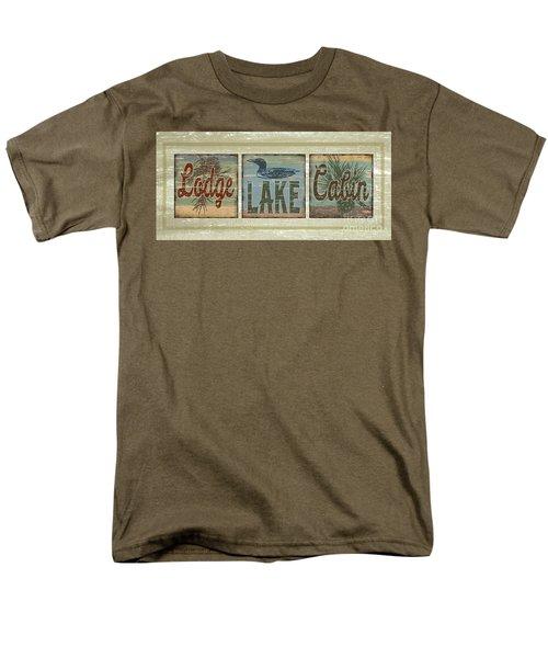 Lodge Lake Cabin Sign Men's T-Shirt  (Regular Fit) by Joe Low