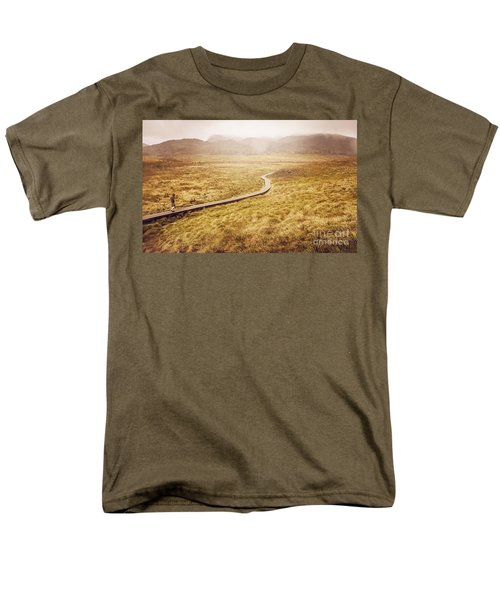 Man on expedition along Cradle Mountain Boardwalk T-Shirt by Ryan Jorgensen