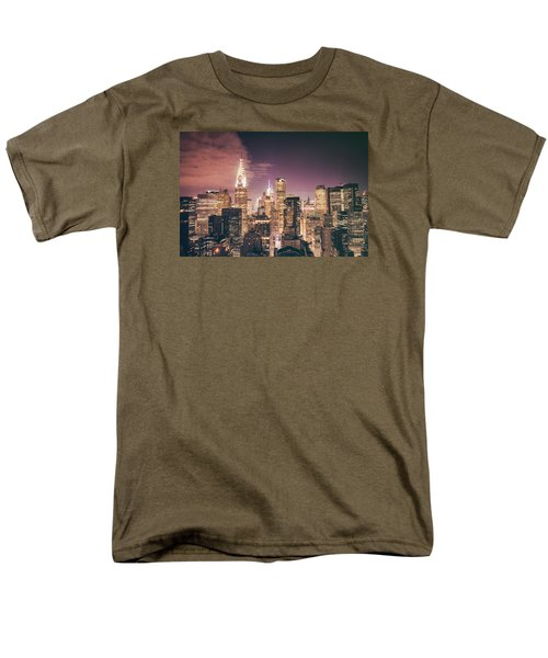 New York City Skyline - Night Men's T-Shirt  (Regular Fit) by Vivienne Gucwa