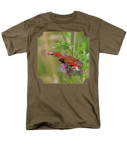 Peacock Butterfly On Thistle Square Men's T-Shirt  (Regular Fit) by Gill Billington