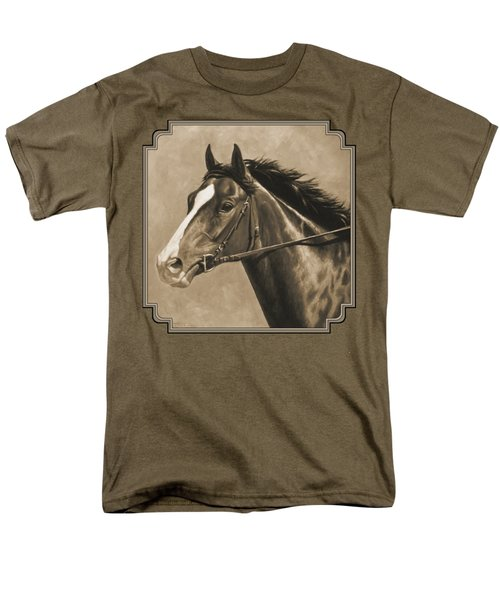 Racehorse Painting In Sepia Men's T-Shirt  (Regular Fit) by Crista Forest
