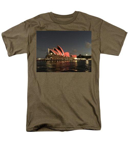 Red Sydney Opera House Men's T-Shirt  (Regular Fit) by Sandy Taylor
