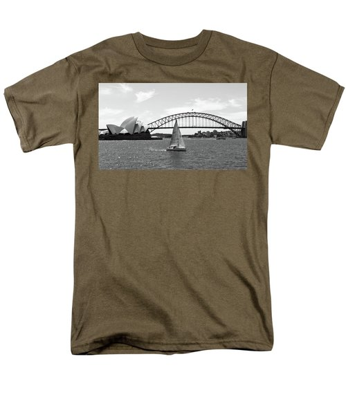Sydney Harbour 1bw Men's T-Shirt  (Regular Fit) by Sandy Taylor