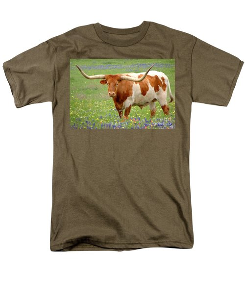 Texas Longhorn Standing in Bluebonnets T-Shirt by Jon Holiday