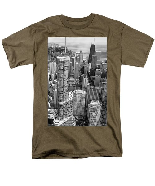 Trump Tower And John Hancock Aerial Black And White Men's T-Shirt  (Regular Fit) by Adam Romanowicz