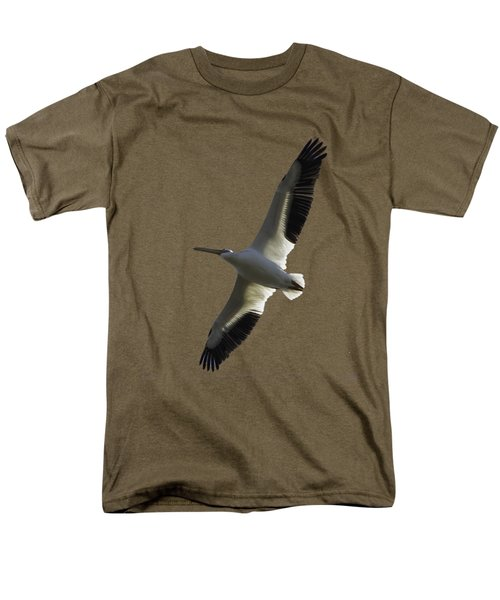 White Pelican In Flight Transparency Men's T-Shirt  (Regular Fit) by Richard Goldman