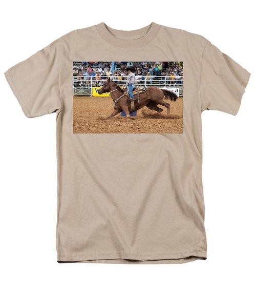 American Rodeo Female Barrel Racer White Blaze Chestnut Horse II T-Shirt by Sally Rockefeller