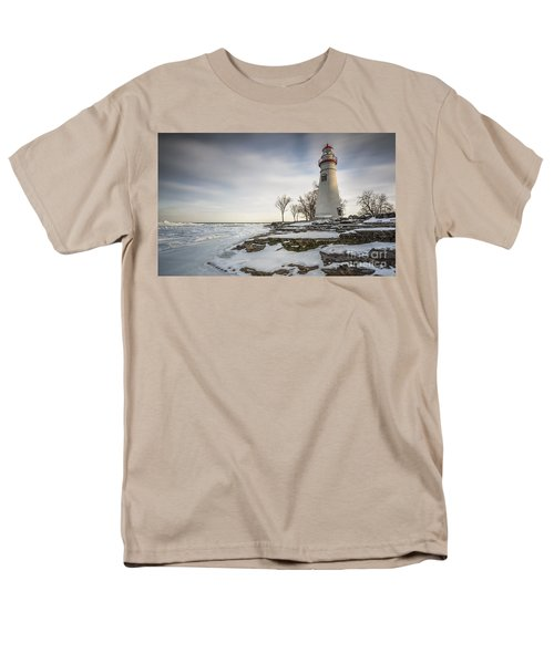 Marblehead Lighthouse Winter Men's T-Shirt  (Regular Fit) by James Dean