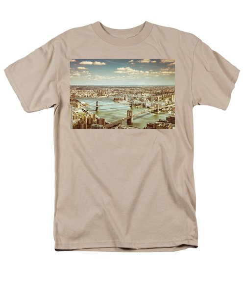 New York City - Brooklyn Bridge And Manhattan Bridge From Above Men's T-Shirt  (Regular Fit) by Vivienne Gucwa