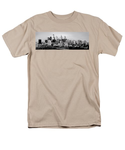 Philadelphia Skyline Black And White Bw Pano Men's T-Shirt  (Regular Fit) by Jon Holiday
