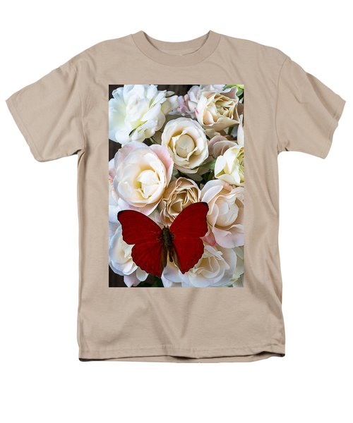 Spray roses and red butterfly T-Shirt by Garry Gay