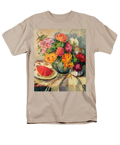 Watermelon And Roses Men's T-Shirt  (Regular Fit) by Diane McClary