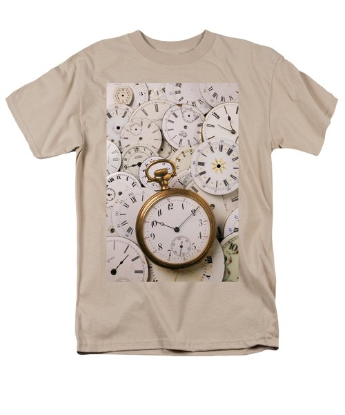 Old pocket watch on dail faces T-Shirt by Garry Gay
