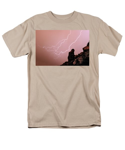 Praying Monk Camelback Mountain Lightning Monsoon Storm Image T-Shirt by James BO  Insogna