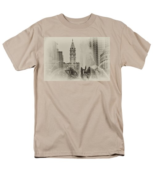 Swann Memorial Fountain in Sepia T-Shirt by Bill Cannon