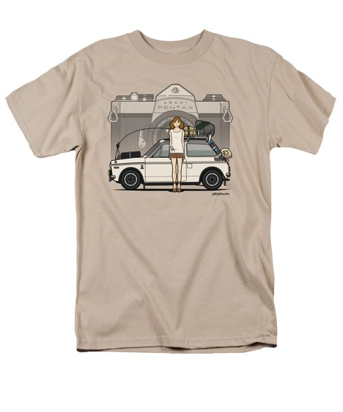 Honda N600 Rally Kei Car With Japanese 60's Asahi Pentax Commercial Girl Men's T-Shirt  (Regular Fit) by Monkey Crisis On Mars