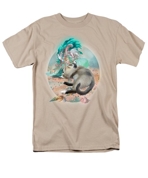 Cat In Summer Beach Hat Men's T-Shirt  (Regular Fit) by Carol Cavalaris