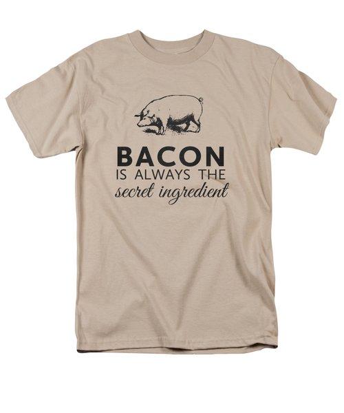 Bacon Is Always The Secret Ingredient Men's T-Shirt  (Regular Fit) by Nancy Ingersoll