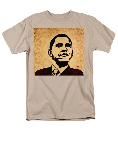 Barack Obama Original Coffee Painting Men's T-Shirt  (Regular Fit) by Georgeta  Blanaru