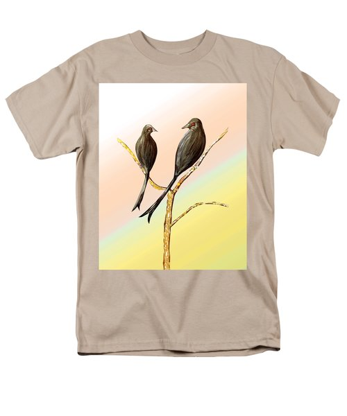 Black Drongos B Men's T-Shirt  (Regular Fit) by Thecla Correya