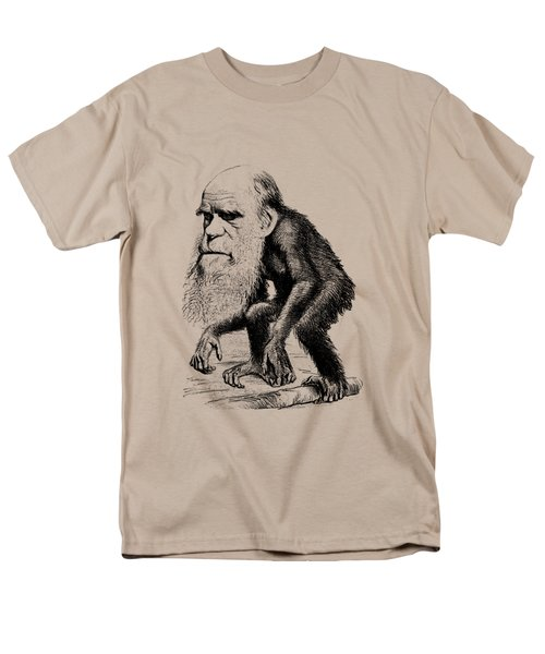 Charles Darwin As An Ape Cartoon Men's T-Shirt  (Regular Fit) by War Is Hell Store
