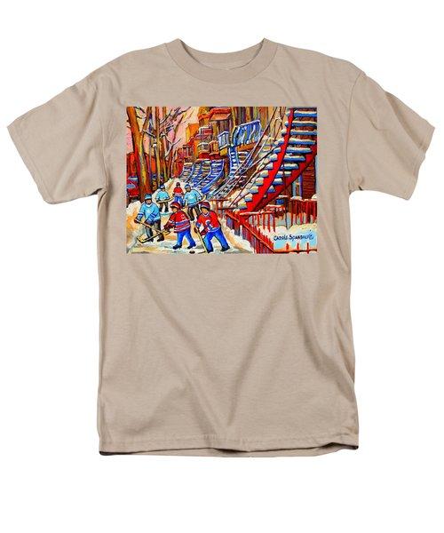 Hockey Game Near The Red Staircase T-Shirt by CAROLE SPANDAU