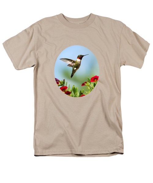 Hummingbird Frolic With Flowers Men's T-Shirt  (Regular Fit) by Christina Rollo