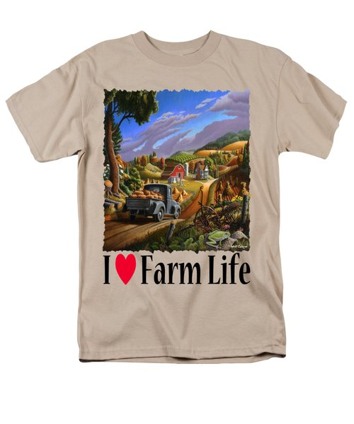 I Love Farm Life - Taking Pumpkins To Market - Appalachian Farm Landscape Men's T-Shirt  (Regular Fit) by Walt Curlee