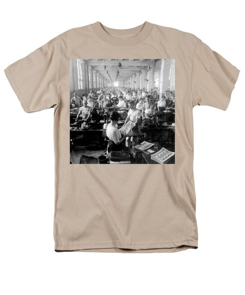 Making Money At The Bureau Of Printing And Engraving - Washington Dc - C 1916 Men's T-Shirt  (Regular Fit) by International  Images