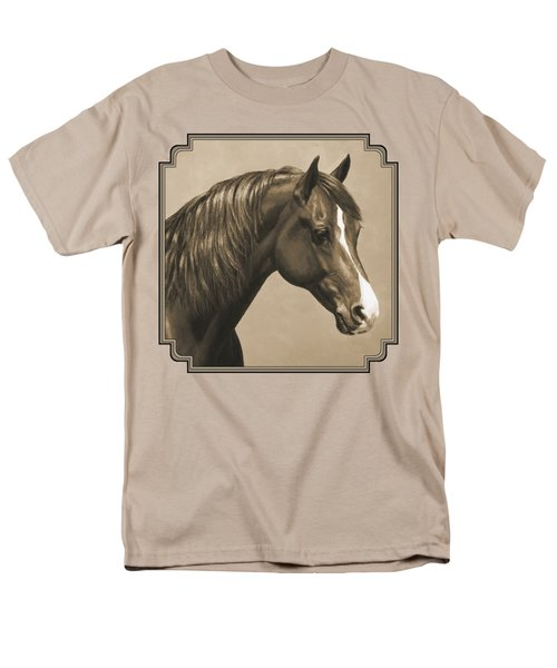 Morgan Horse Painting In Sepia Men's T-Shirt  (Regular Fit) by Crista Forest