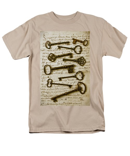 Old keys on letter T-Shirt by Garry Gay